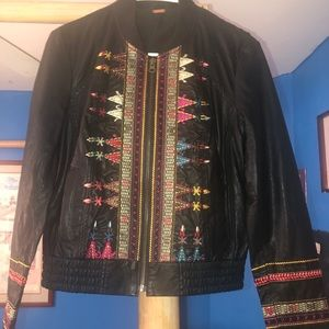 Black leather jacket from Free People